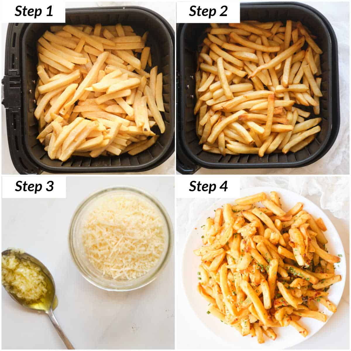 image collage showing the steps for making garlic parm fries