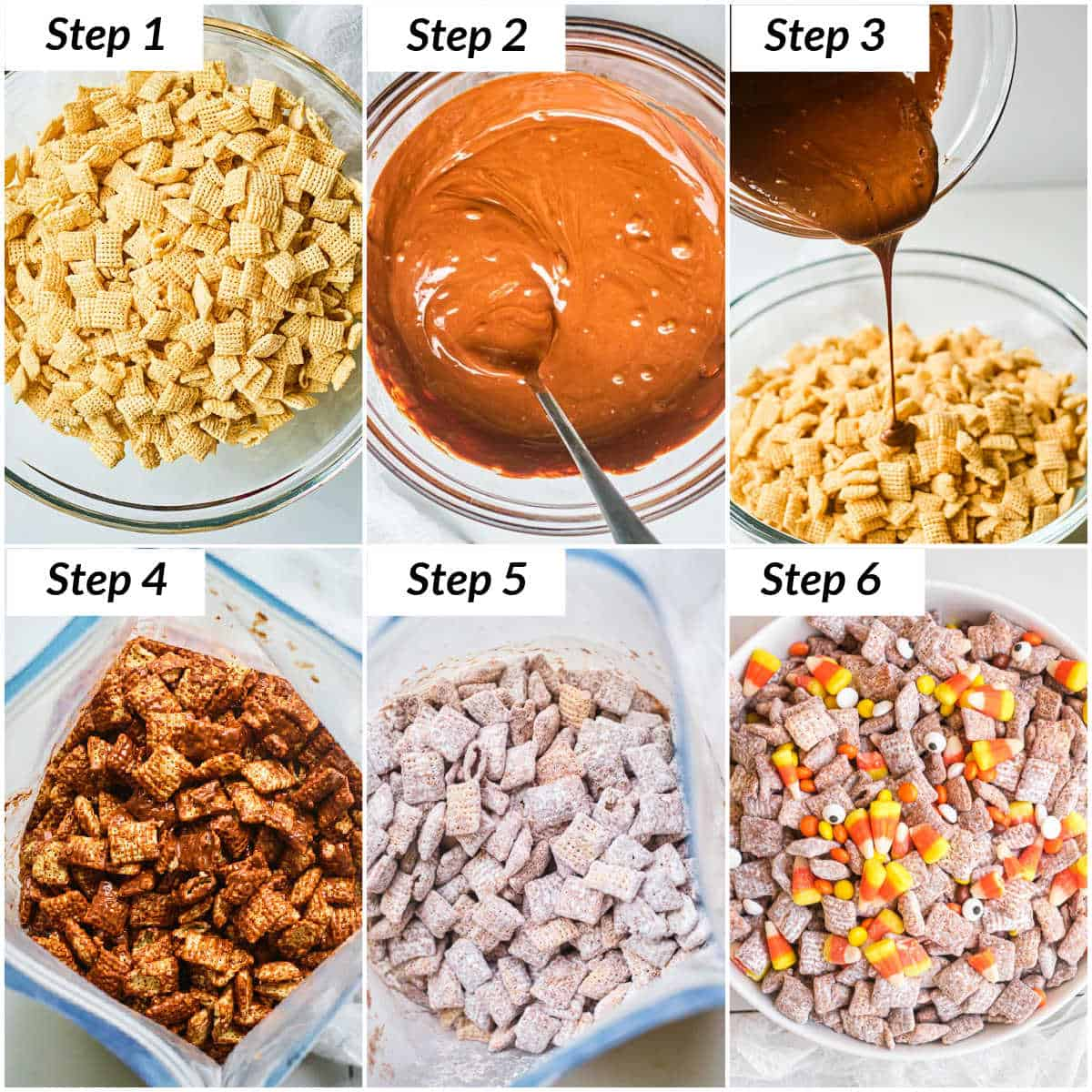 image collage showing the steps for making Halloween Puppy Chow