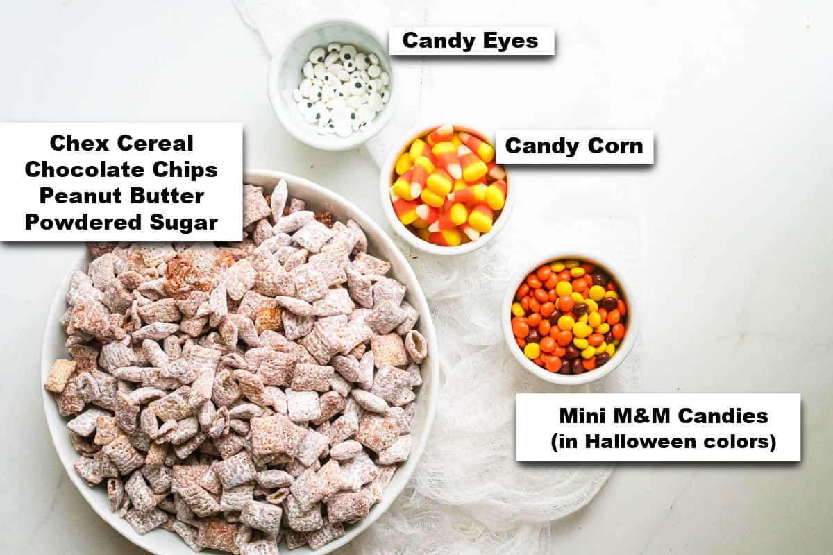 the ingredients needed for making Halloween puppy chow