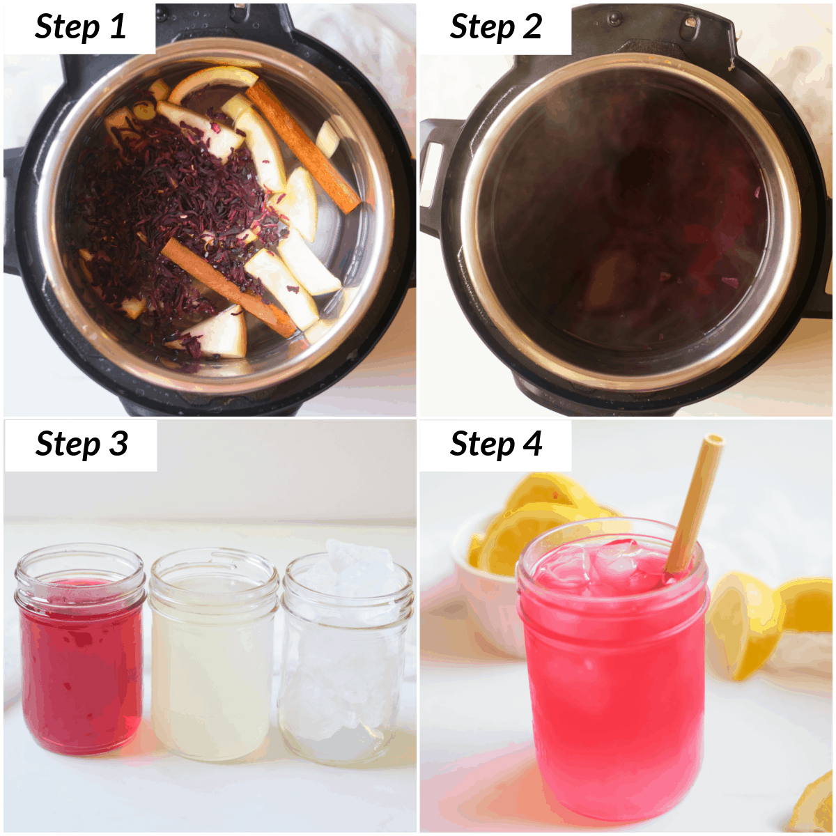 image collage showing the steps for making Instant Pot Passion Tea Lemonade