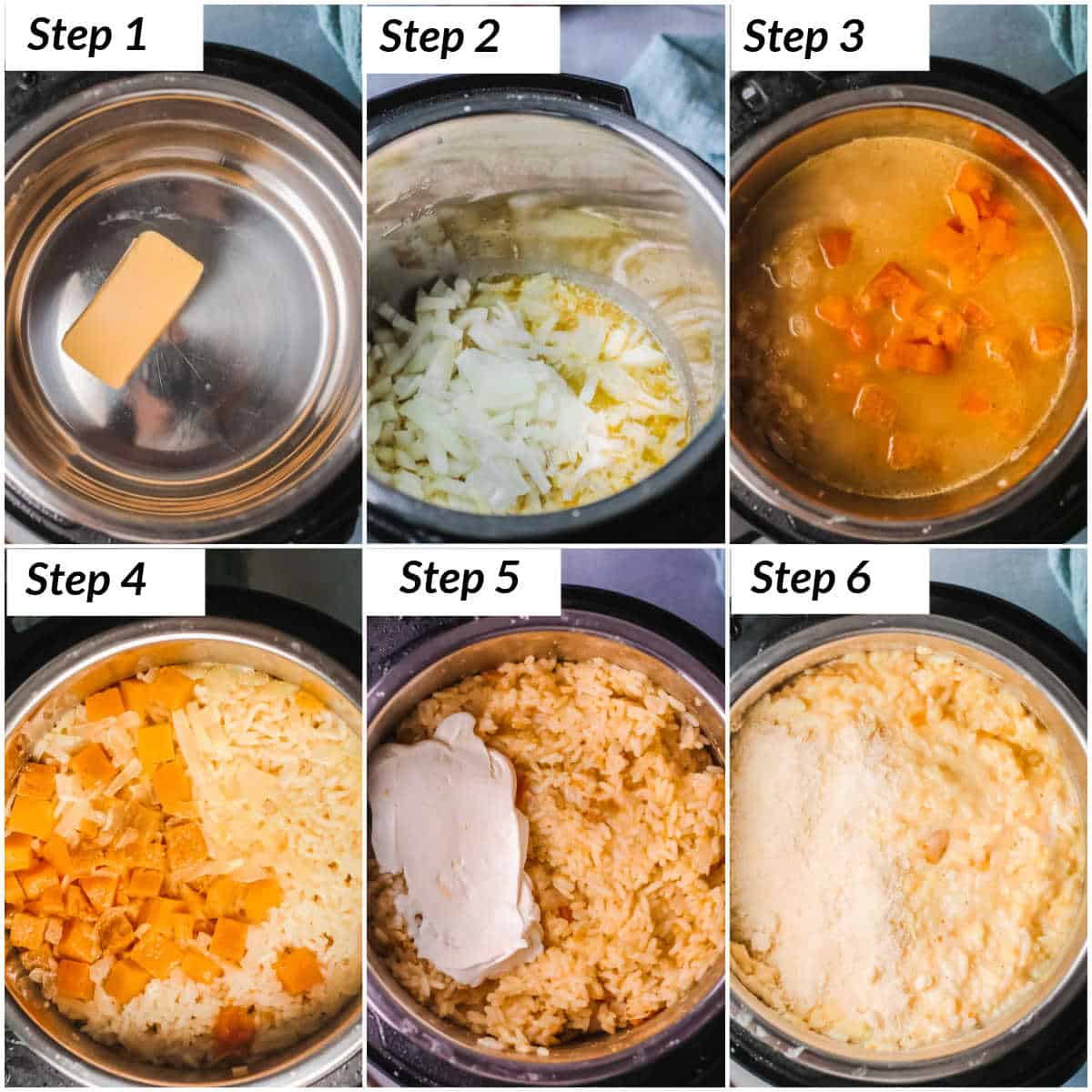 image collage showing the steps for making instant pot risotto
