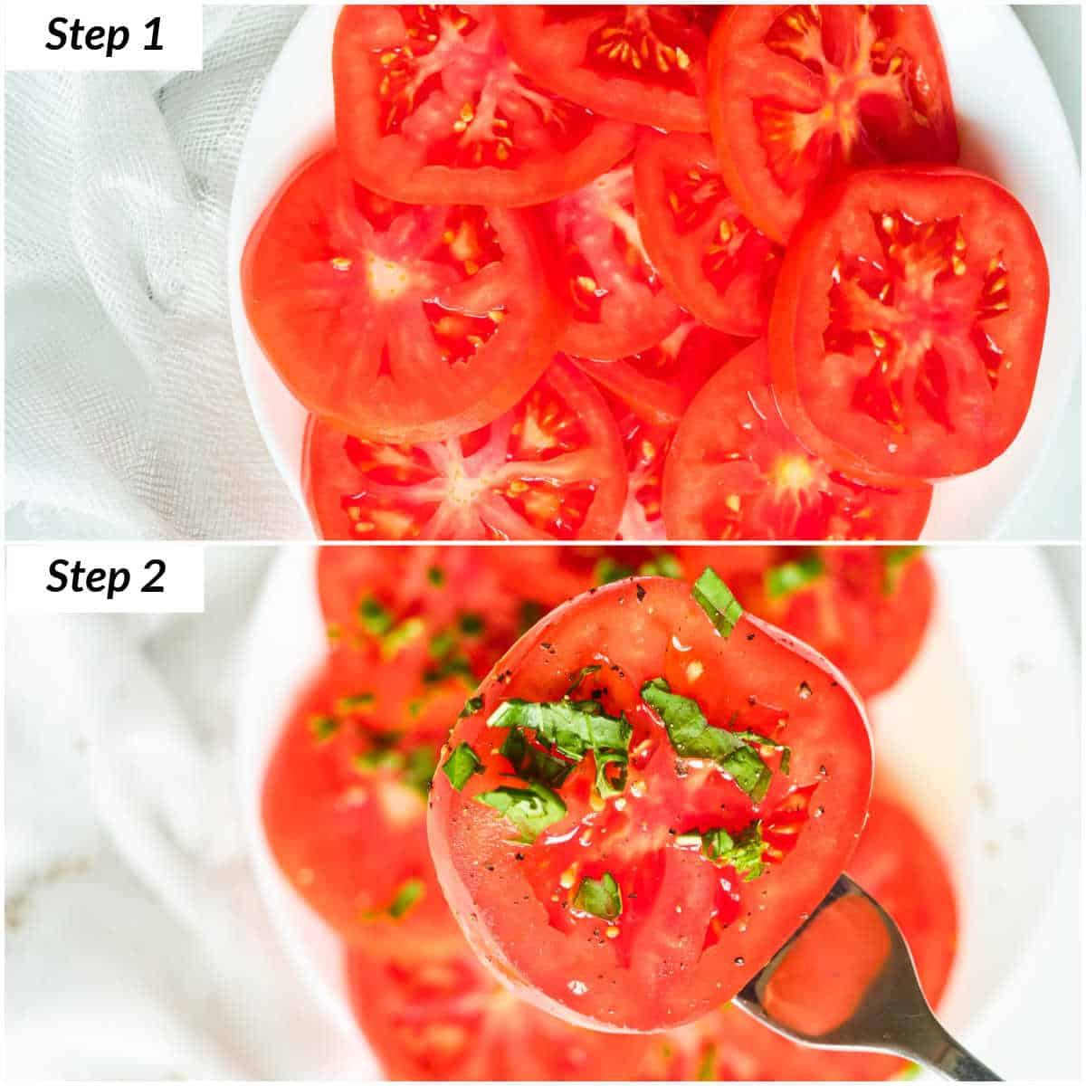 image collage showing the steps for making marinated tomatoes with basil
