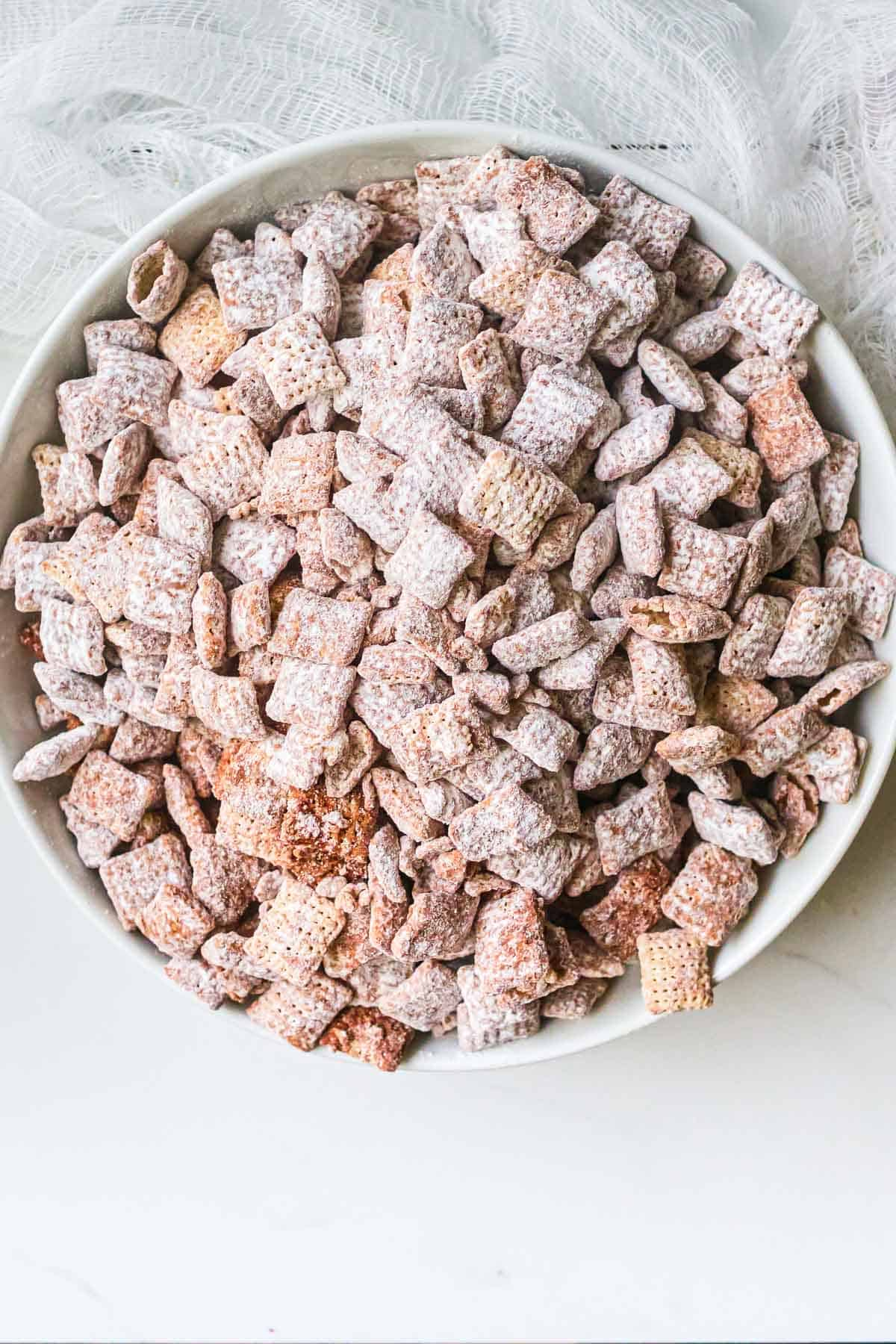 a bowl full of delicious puppy chow
