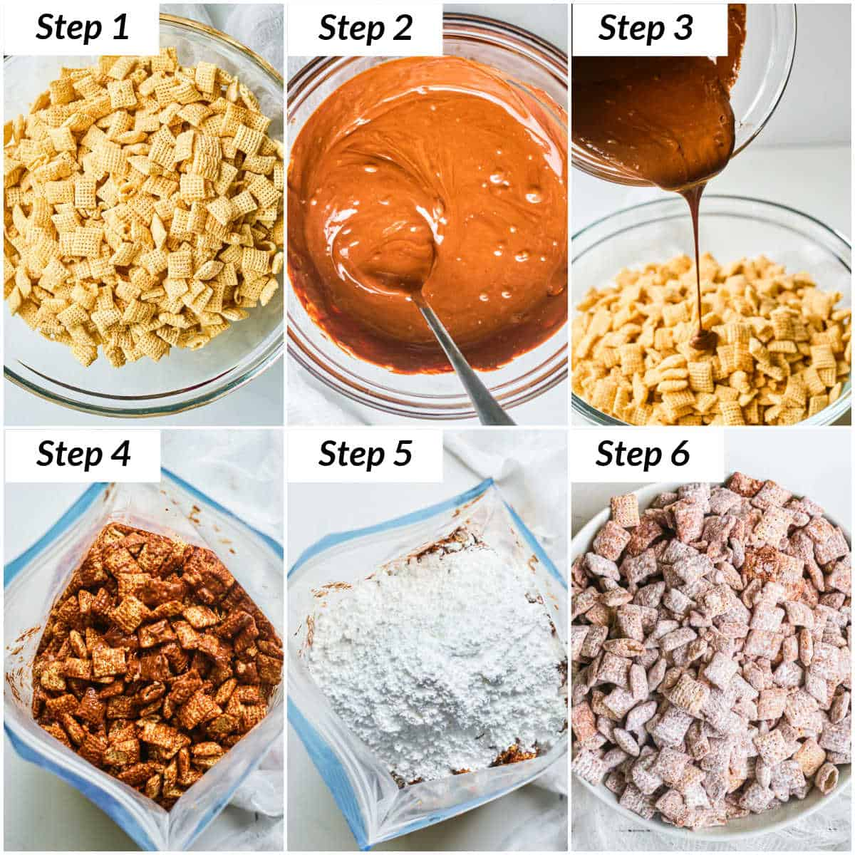 image collage showing the steps for making puppy chow