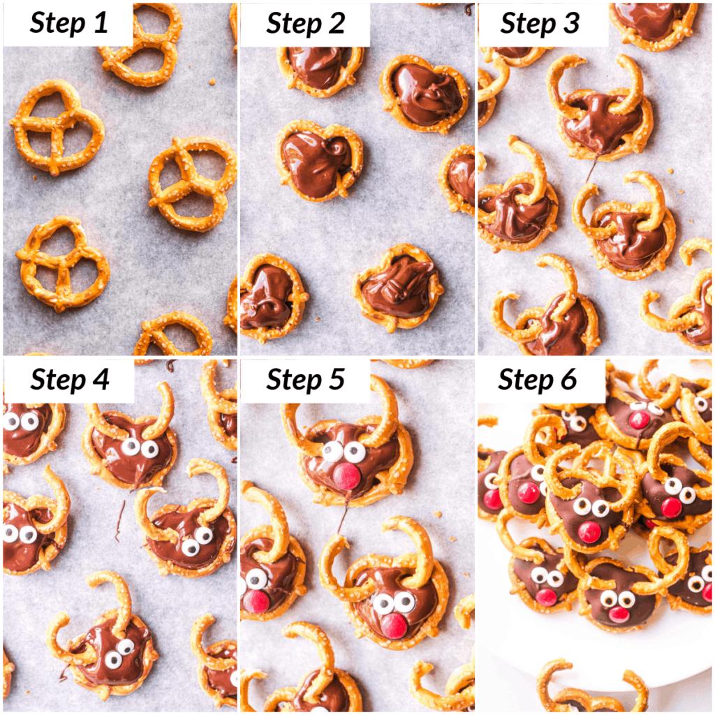 collage showing how to make reindeer pretzels