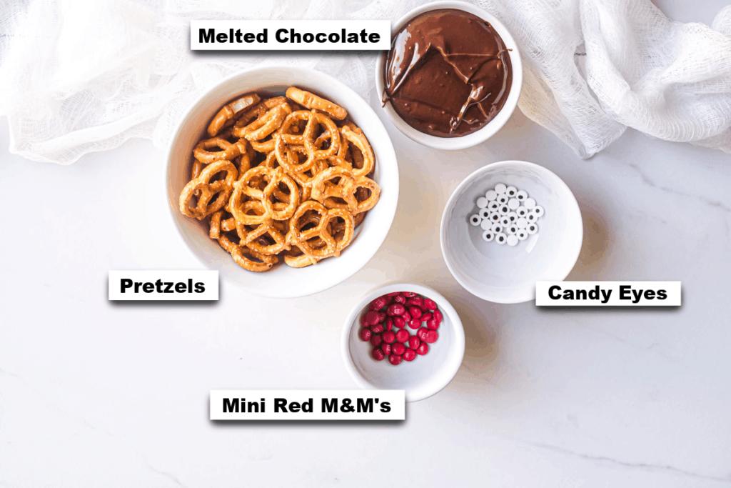 Reindeer Pretzels ingredients on a table
