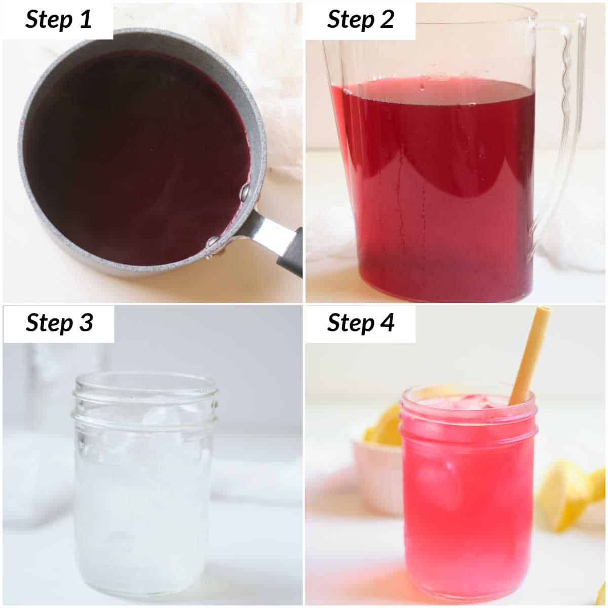 image collage showing the steps for making a passion tea lemonade refresher