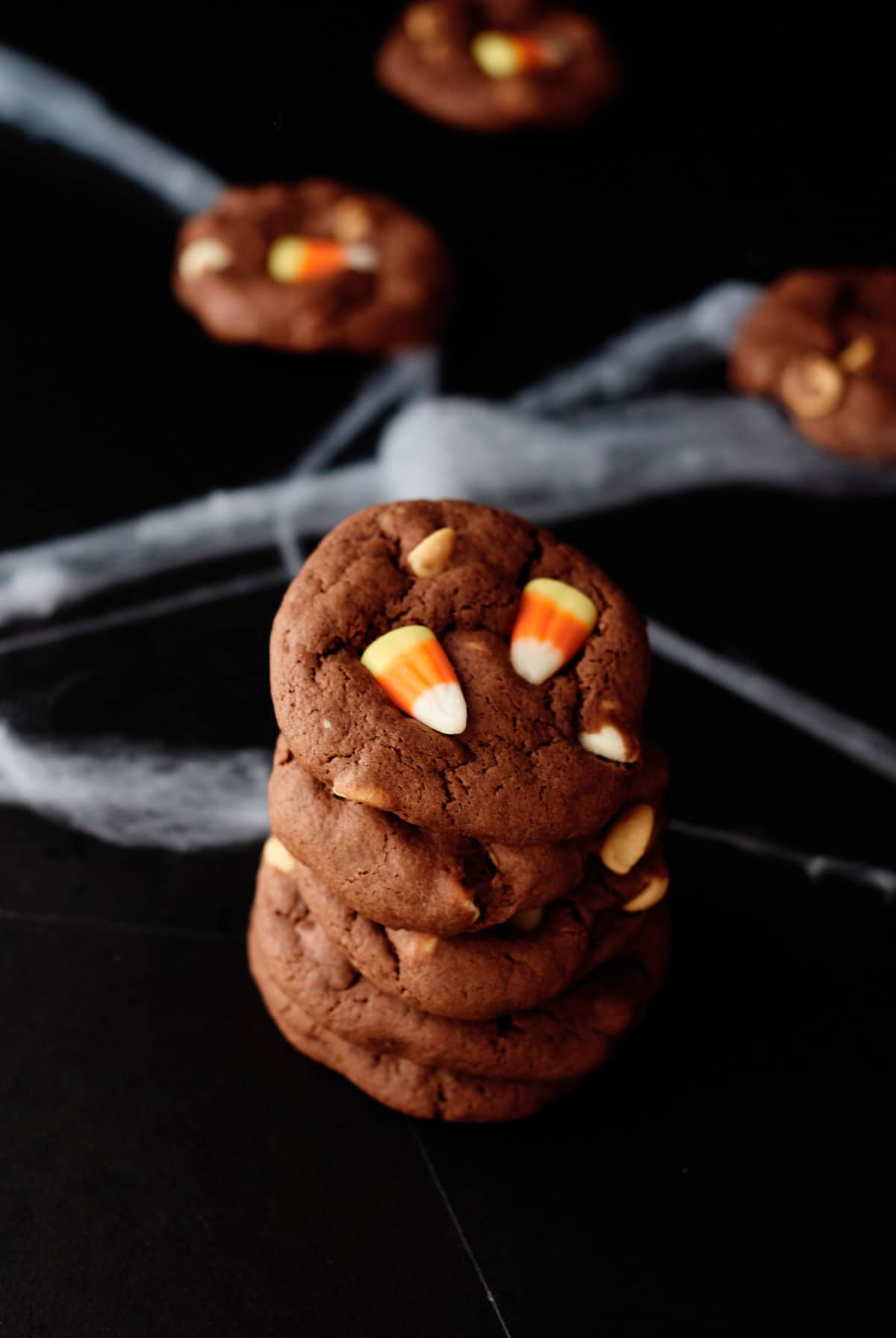 the finished candy corn cookies stacked vertically
