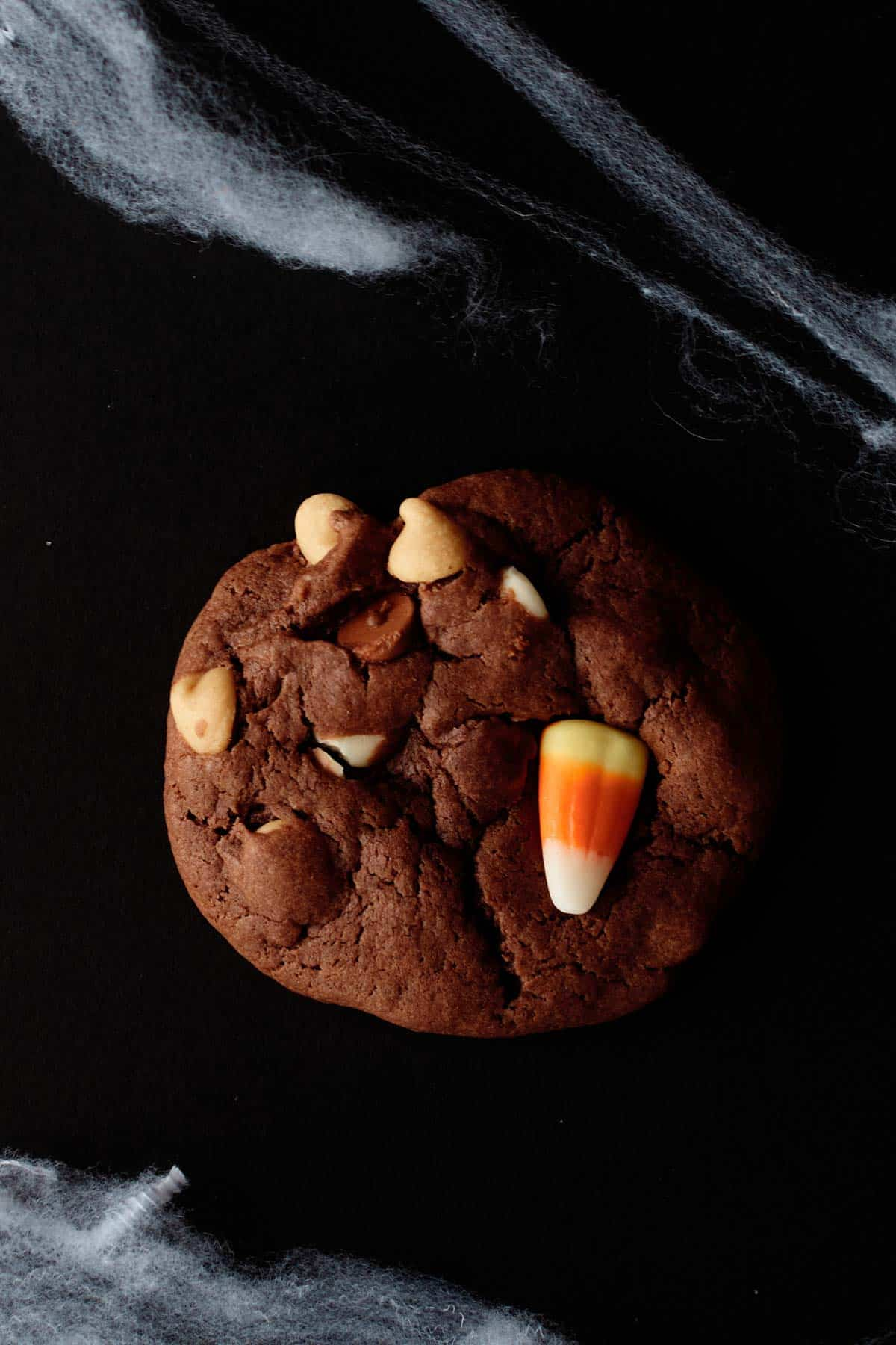 close up of one candy corn cookie