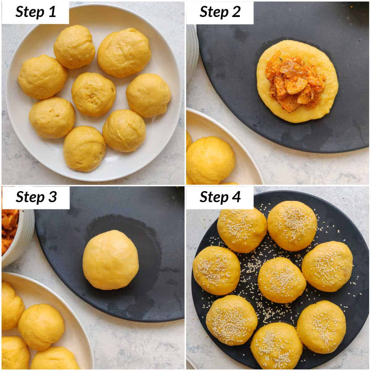 image collage showing the steps for assembling the spicy chicken stuffed buns