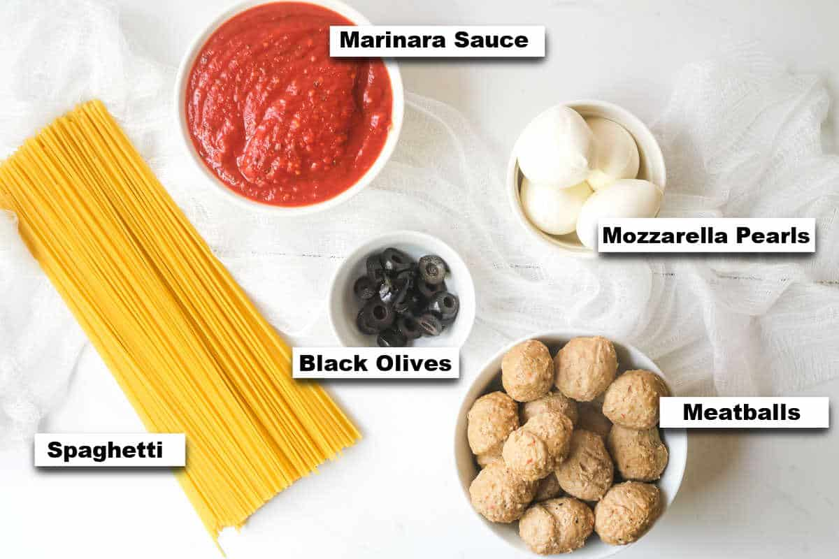 the ingredients needed for making Halloween Spaghetti
