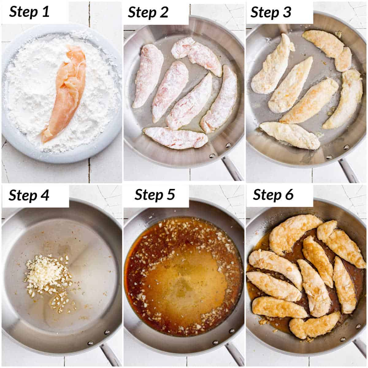 image collage showing the steps for making honey garlic chicken tenders