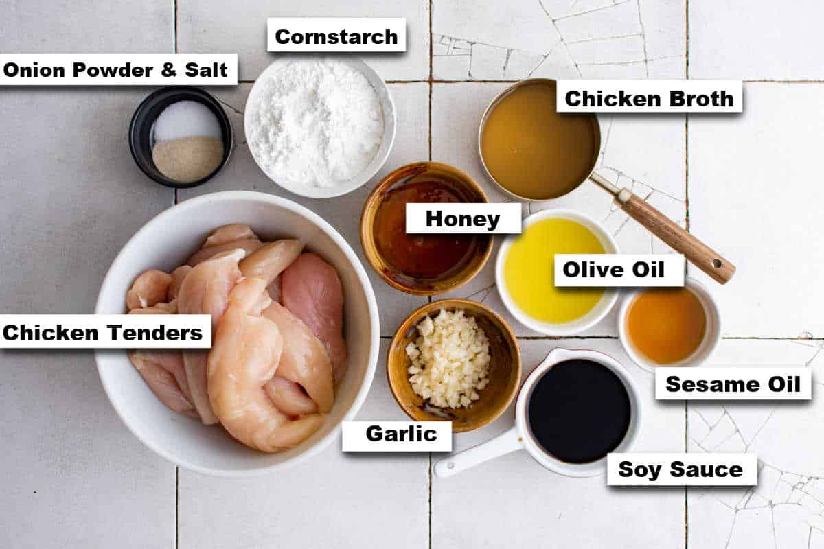 the ingredients needed for making honey garlic chicken tender recipe