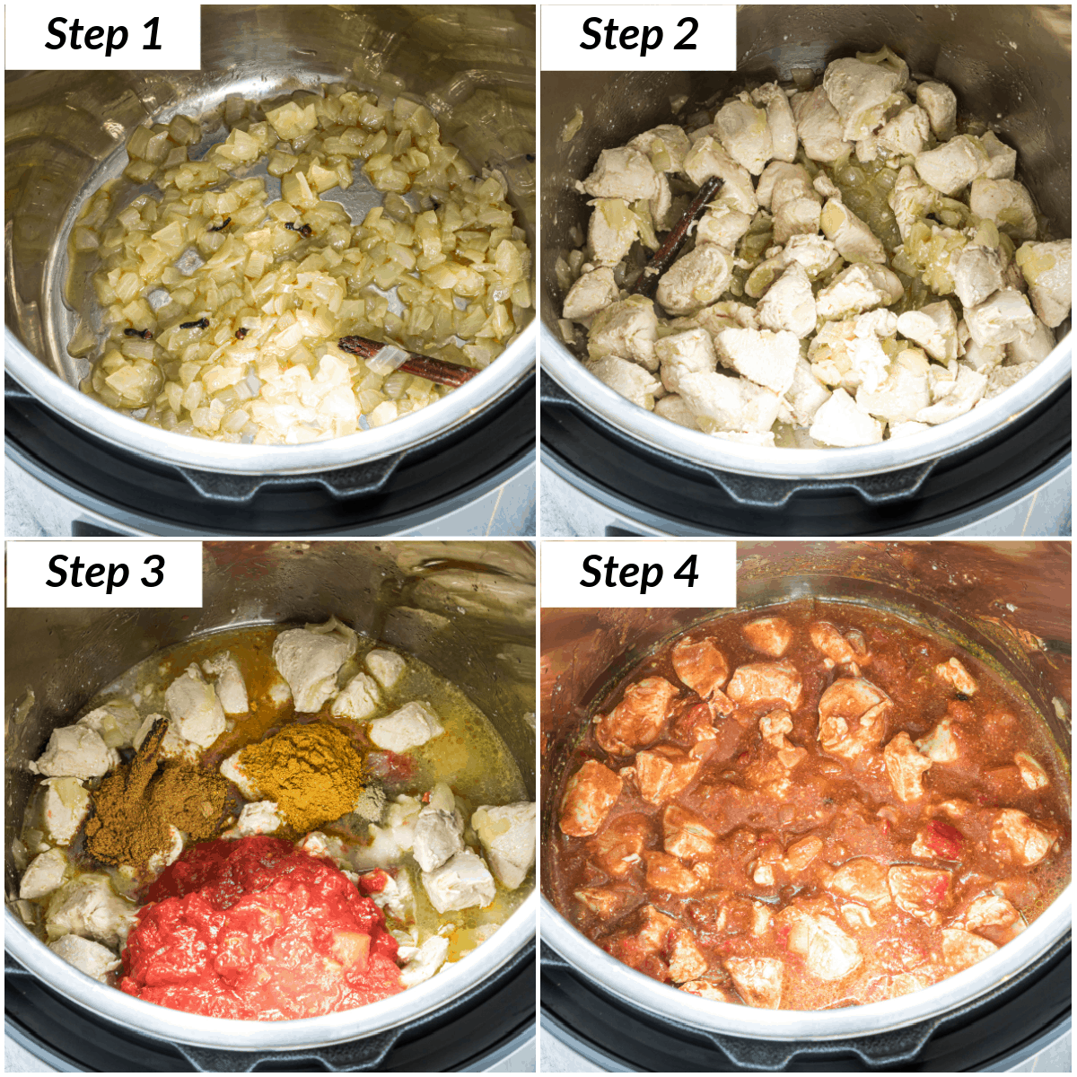 image collage showing the steps for making chicken curry instant pot