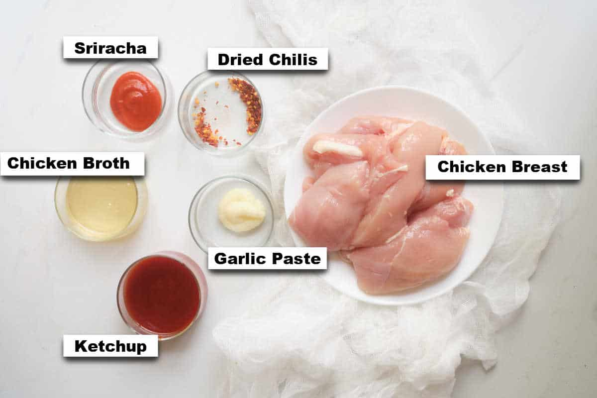 the ingredients needed for making chicken tenders instant pot