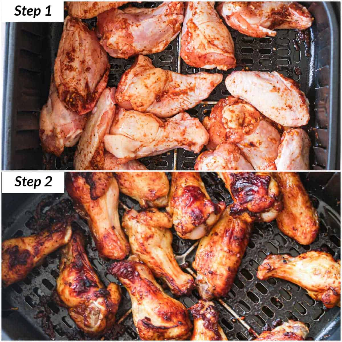 image collage showing the steps for making jerk chicken wings in air fryer