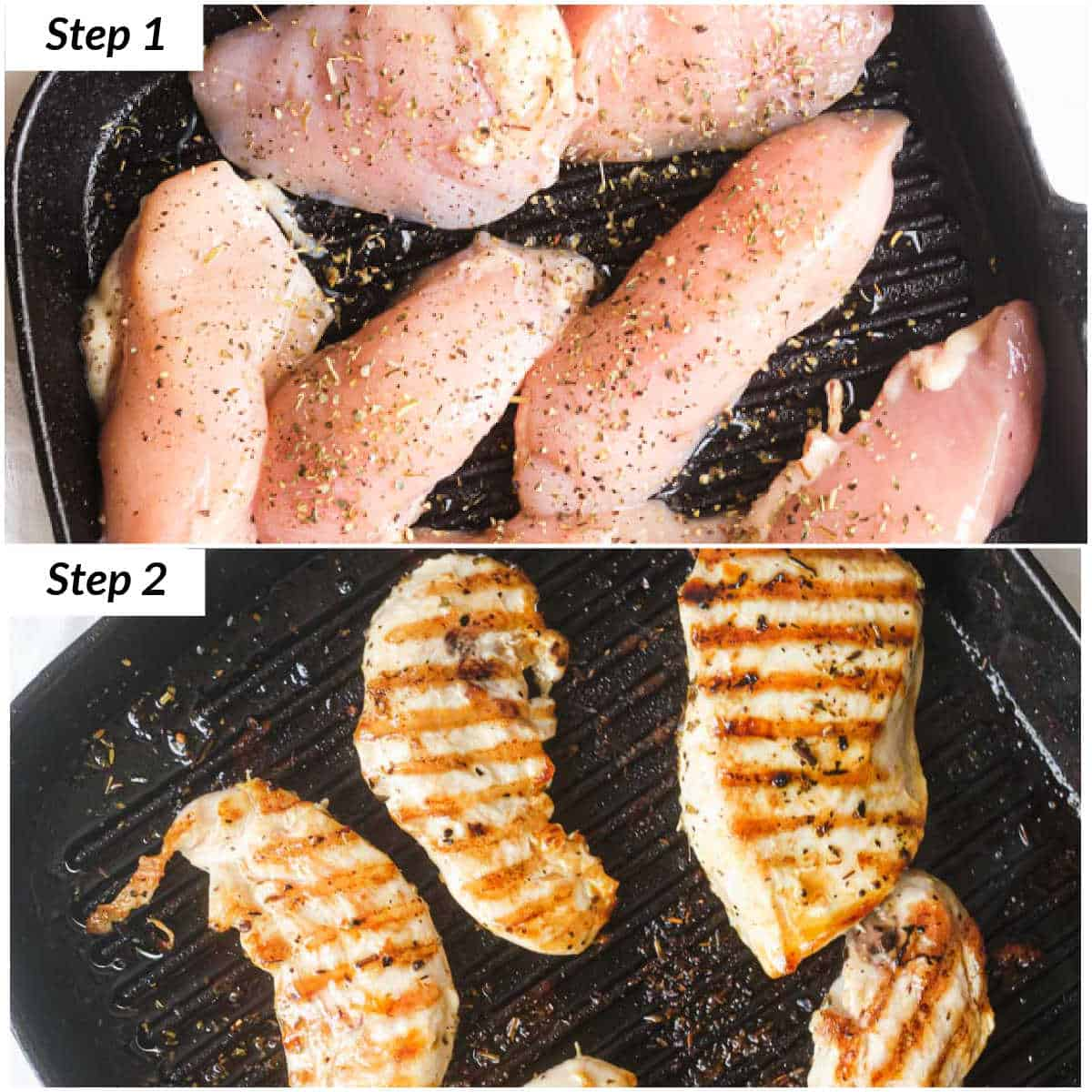 image collage showing how to make grilled chicken tenders