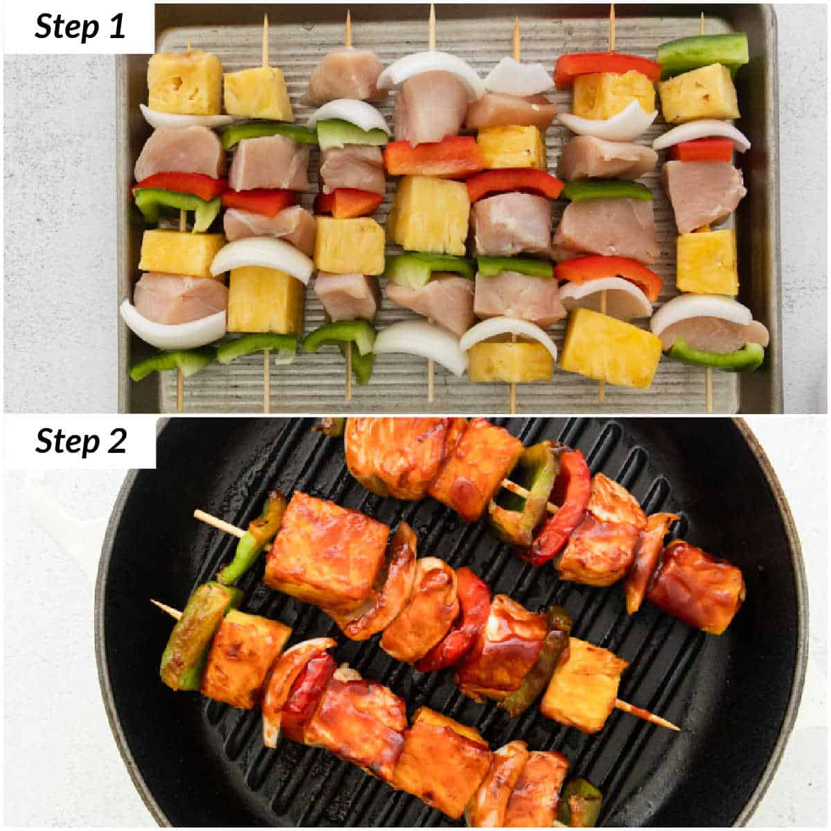 image collage showing the steps for making this grilled chicken kabob recipe