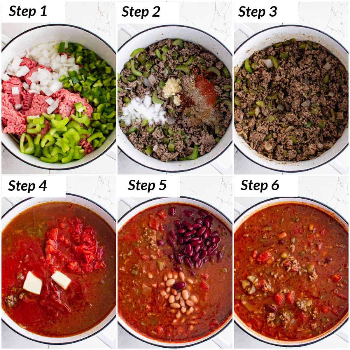 image collage showing the steps for making this copycat wendys chili recipe