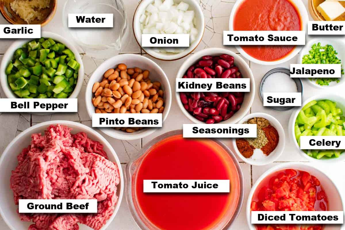 the ingredients for making this Wendys chili recipe