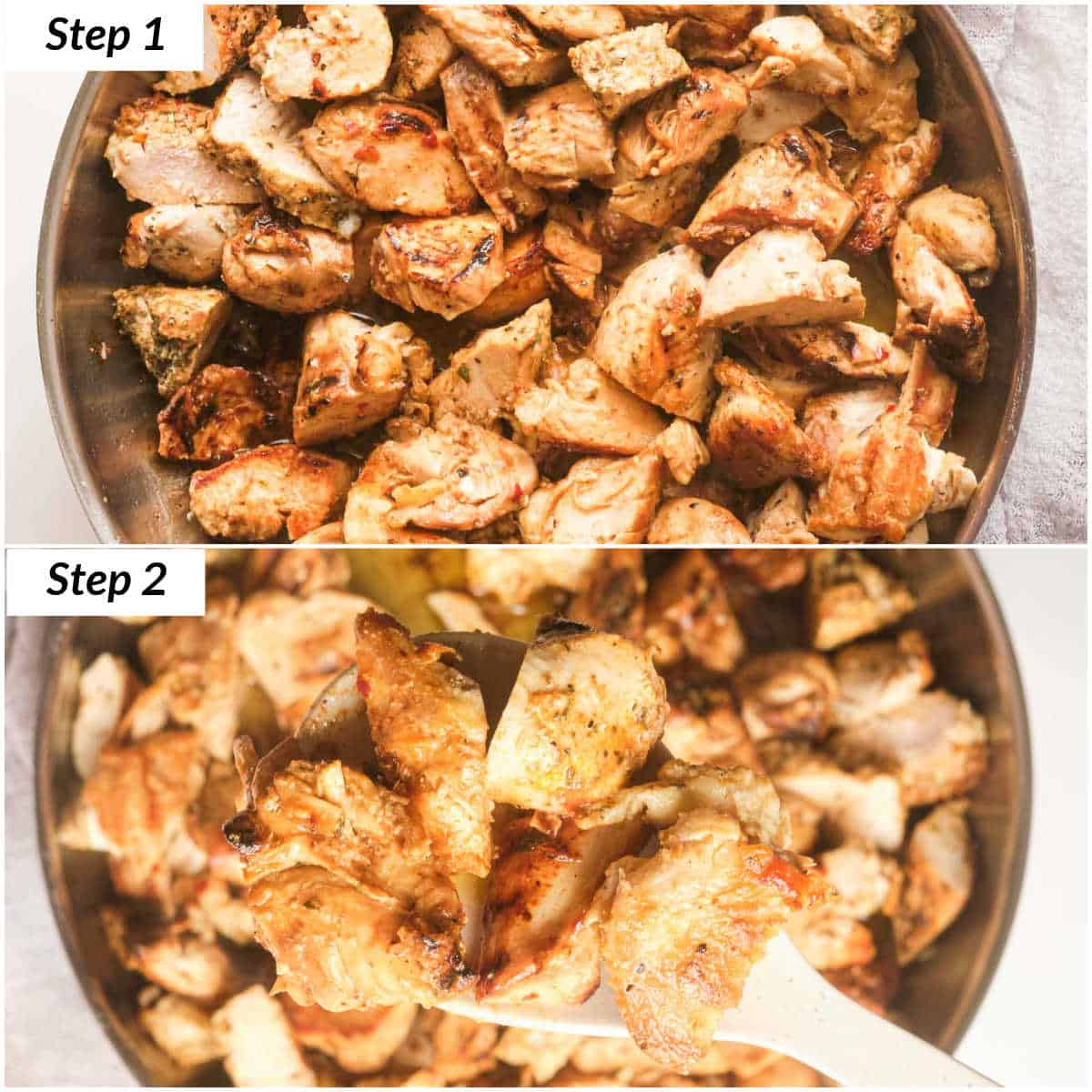 image collage showing the steps for making garlic butter chicken