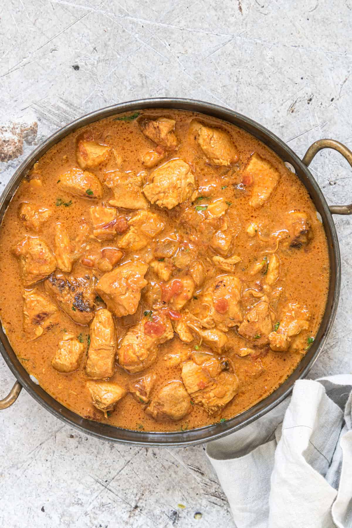 the finished instant pot coconut chicken curry ready to be served