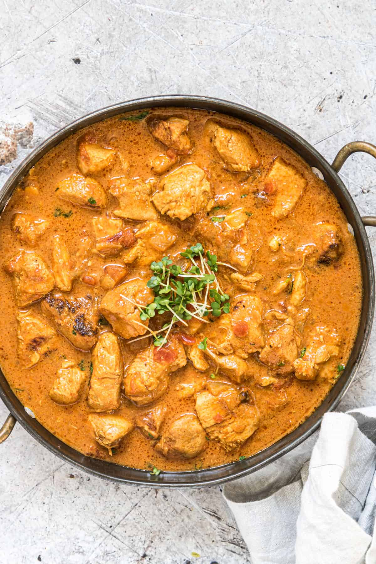 top down view of the completed instant pot chicken curry recipe