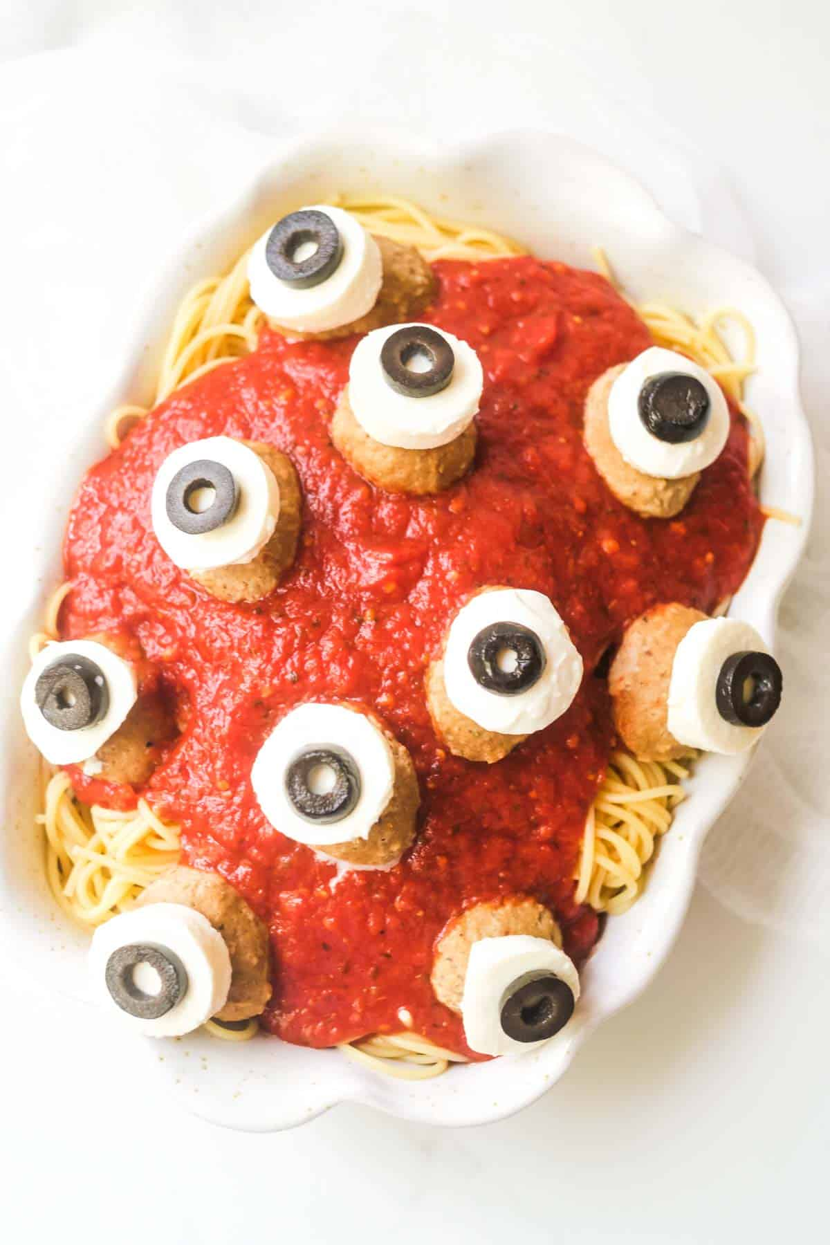 top down view of the completed eyeball Halloween Spaghetti ready to be served