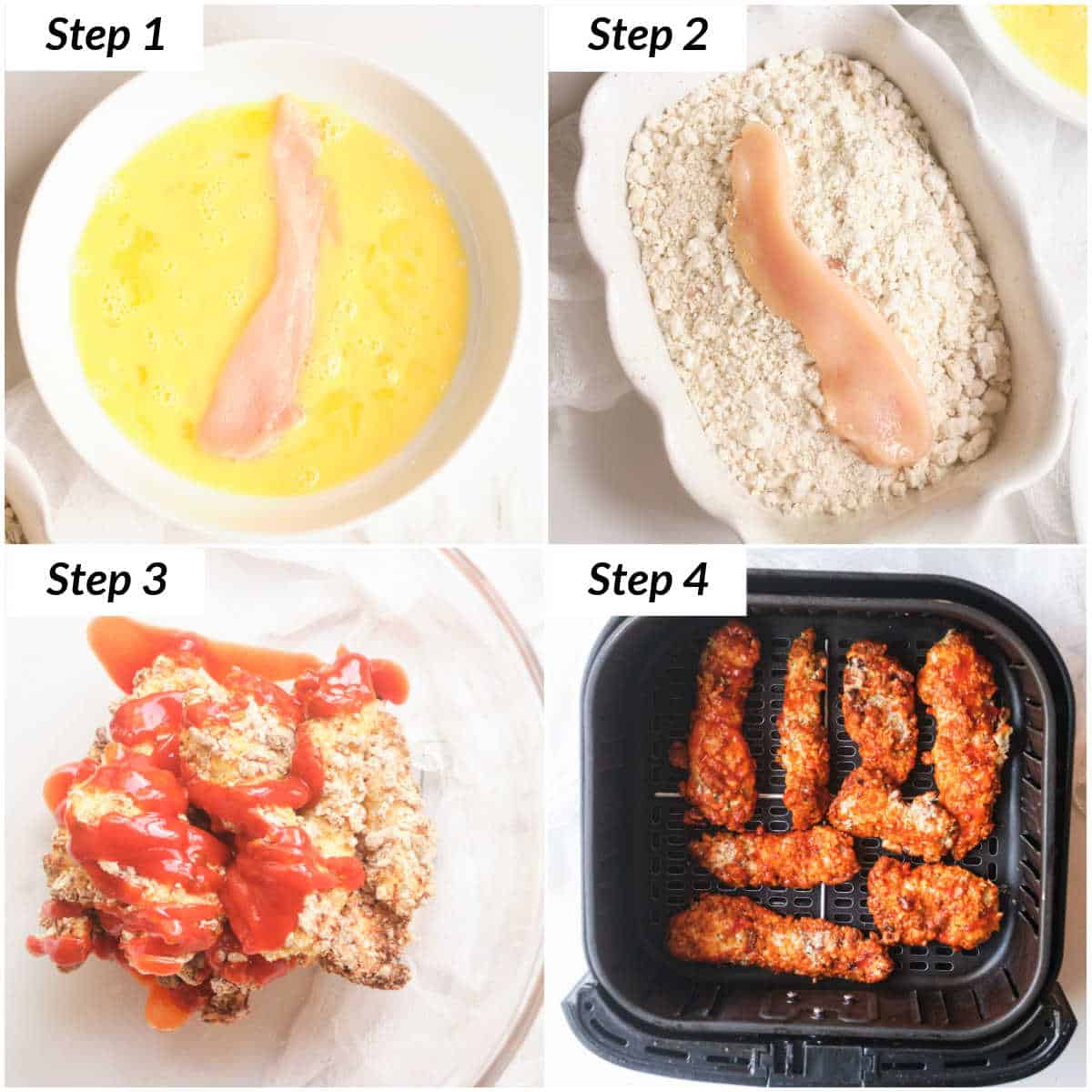 image collage showing the steps for making air fryer buffalo chicken tenders