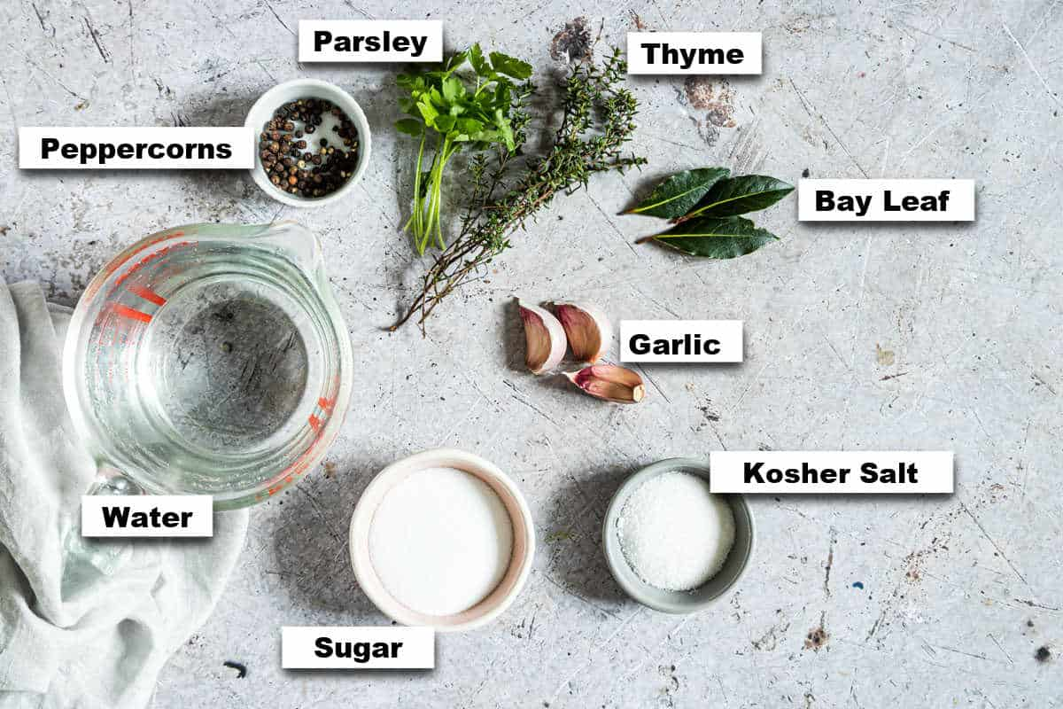 the ingredients needed to learn how to brine chicken