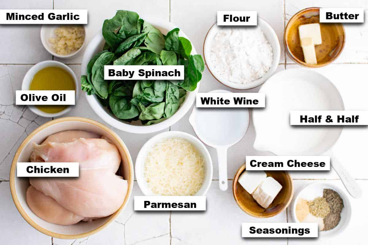 the ingredients to learn how to make chicken florentine