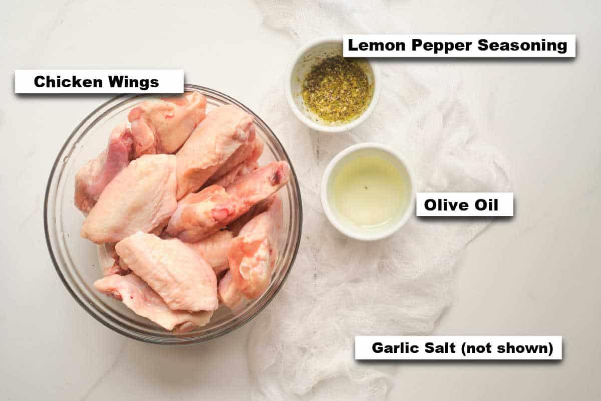 the ingredients needed to make lemon pepper wings
