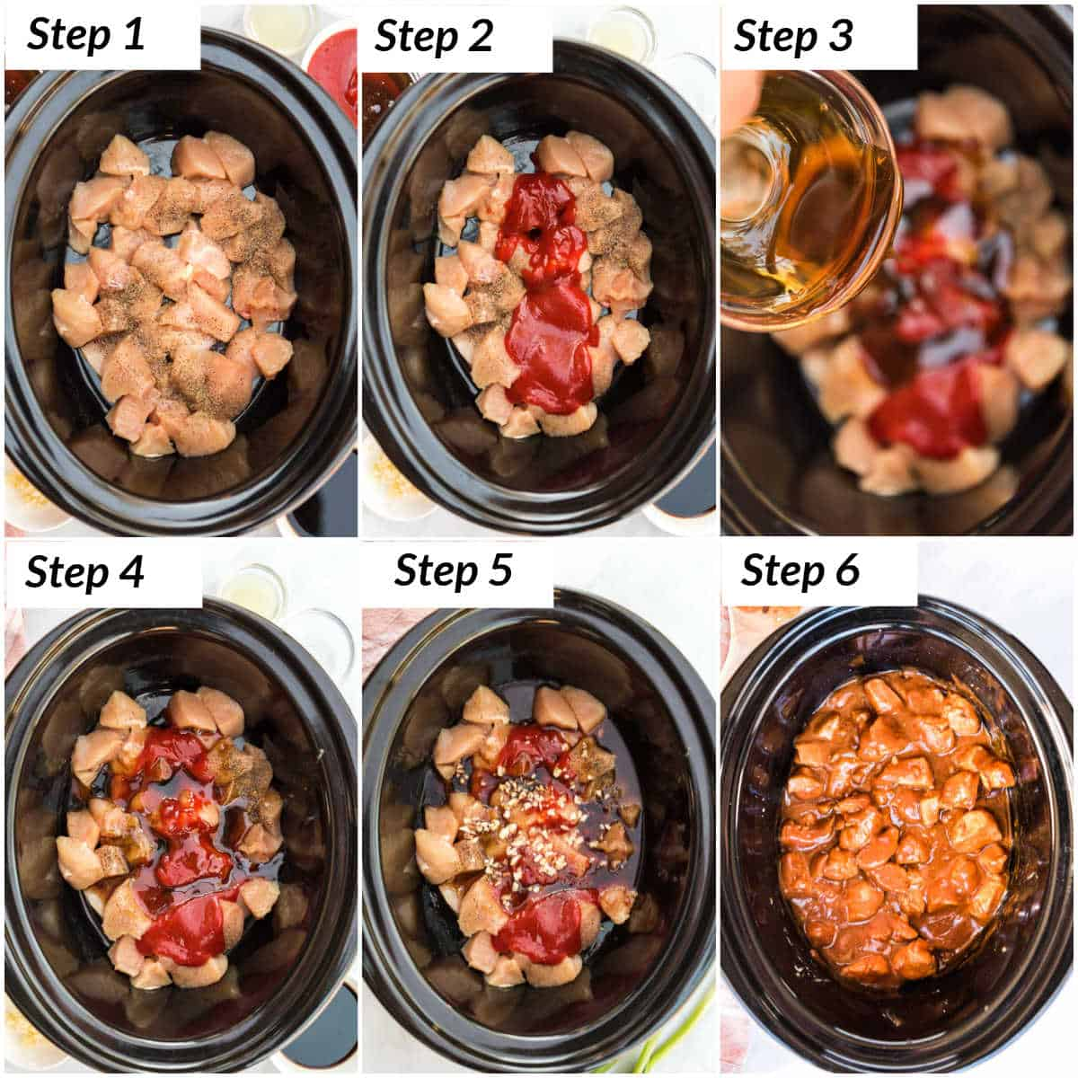 image collage showing the steps for making slow cooker honey garlic chicken