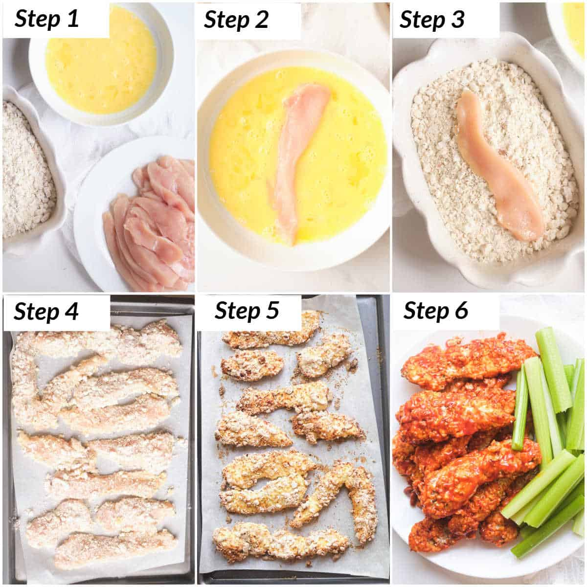 image collage showing the steps for making buffalo chicken tenders