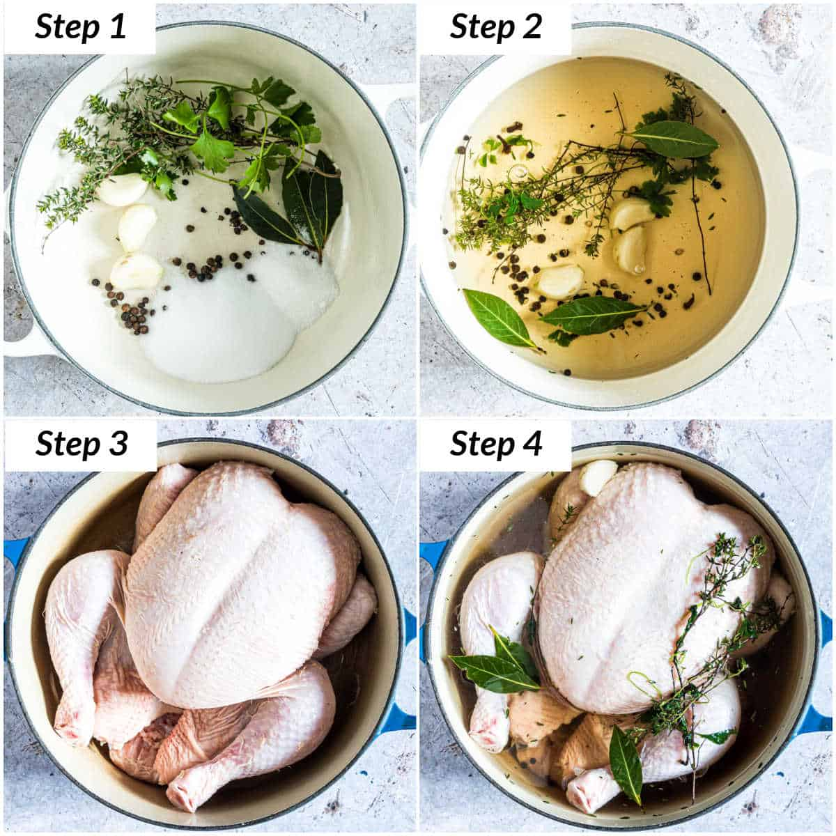 image collage showing the steps to brine chicken