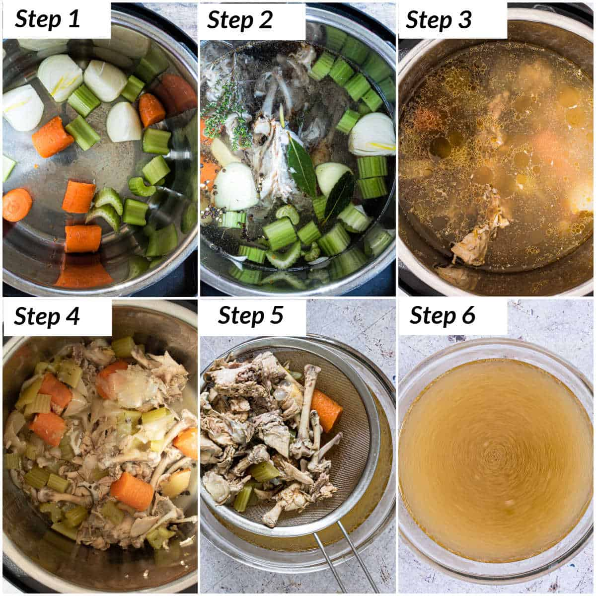 image collage showing the steps for making instant pot chicken stock