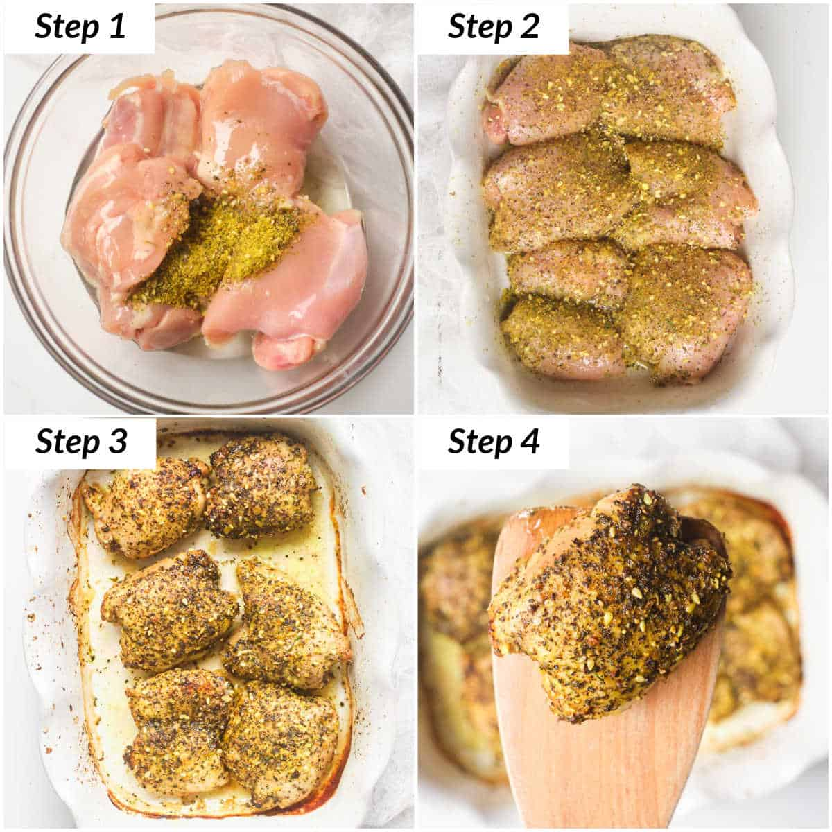 image collage showing the steps for making lemon pepper chicken thighs