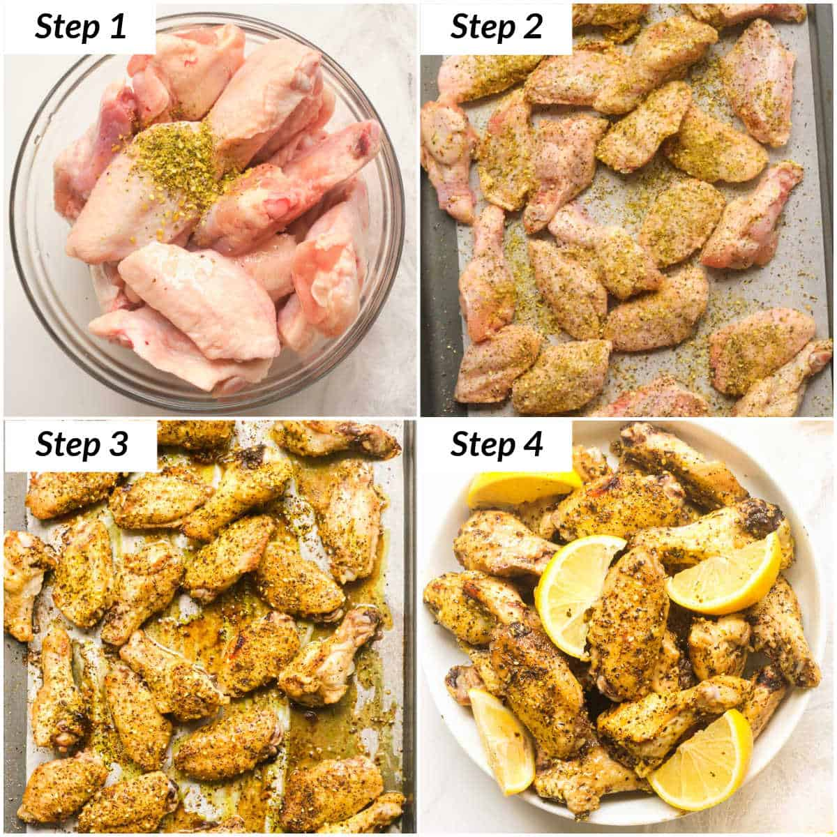 image collage showing the steps for making lemon pepper chicken wings