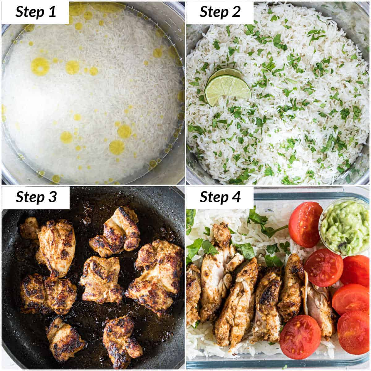 image collage showing the steps for making meal prep chicken and rice