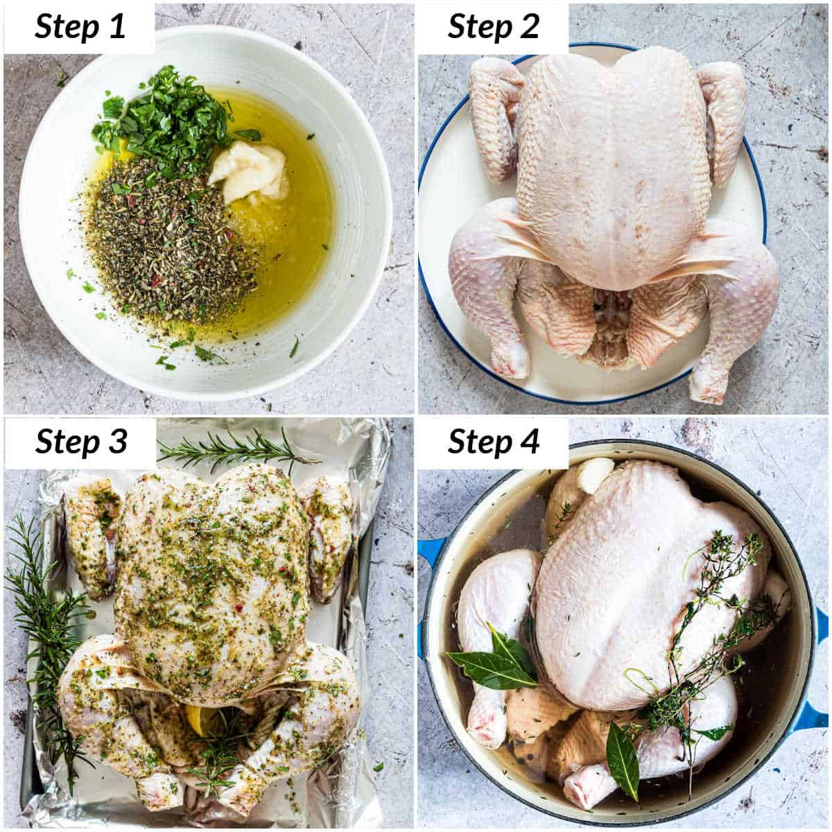 image collage showing the steps for making this roast chicken recipe