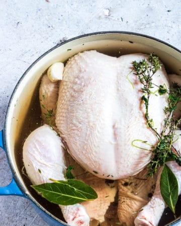 close up view of the chicken brine recipe