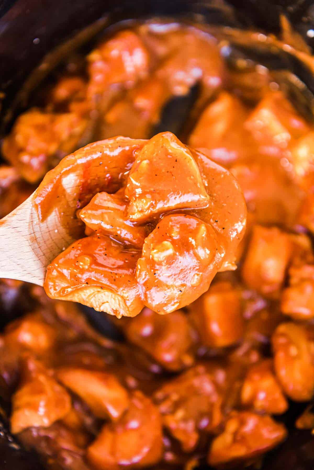 close up of the finished honey garlic chicken crock pot recipe inside the crockpot