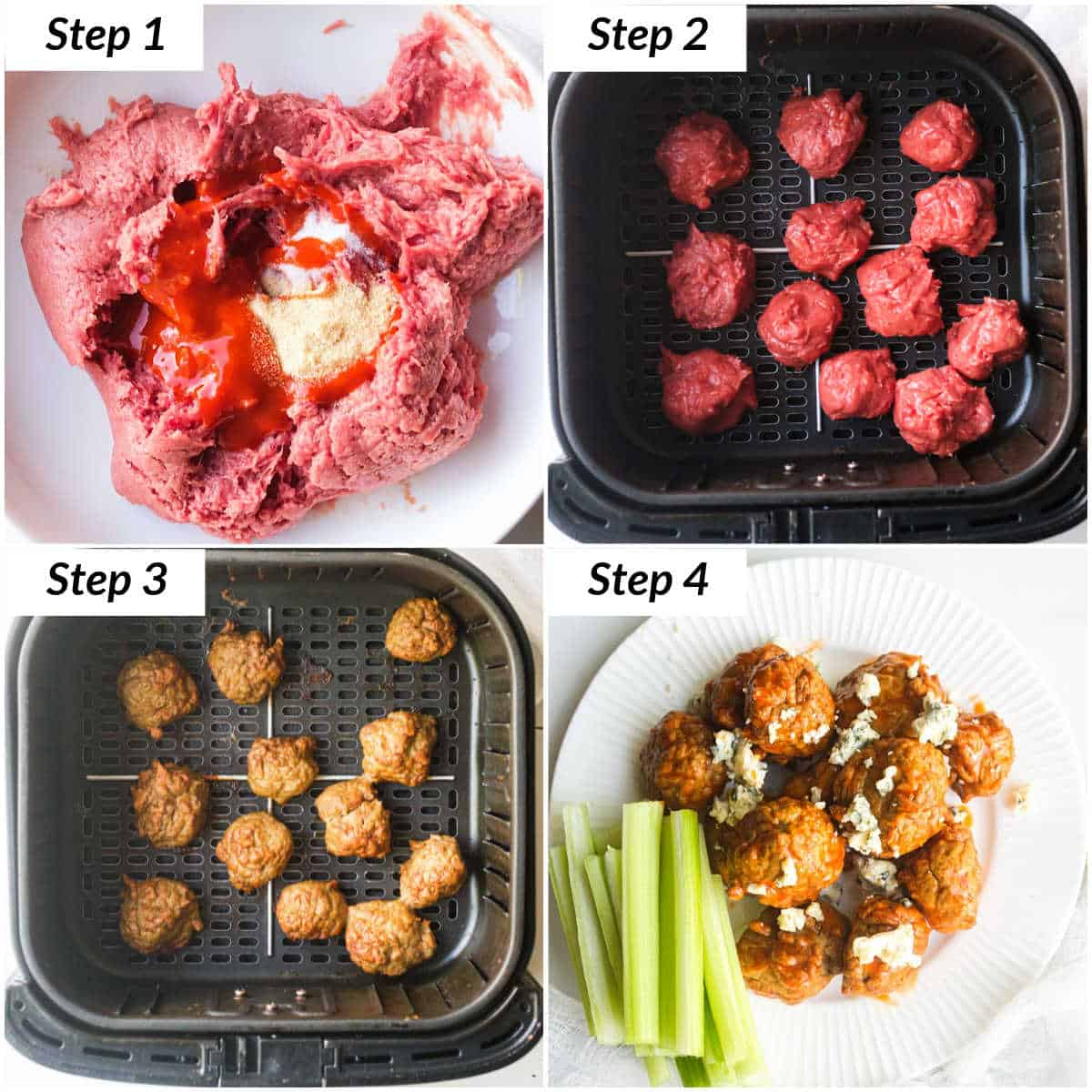 image collage showing the steps for making buffalo chicken meatballs in air fryer