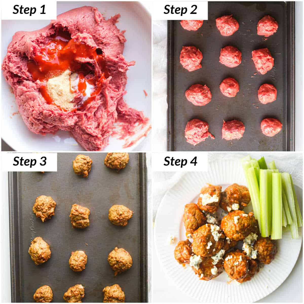 image collage showing the steps for making buffalo chicken meatballs in the oven