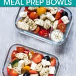 two glass dishes with greek chicken salad