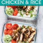 sliced chicken with rice and halved cherry tomatoes in a storage container