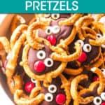 a bowl of reindeer pretzels