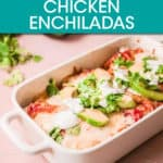 enchiladas in a casserole dish topped with avocado