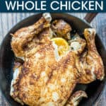 A WHOLE CHICKEN IN A FRYING PAN