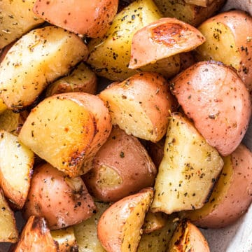Easy Foil Packed red Potatoes close up
